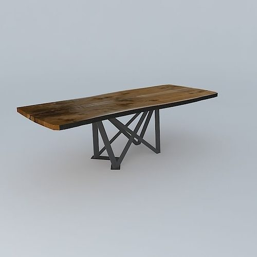 live slab truss leg table 3d model cgtrader. Black Bedroom Furniture Sets. Home Design Ideas