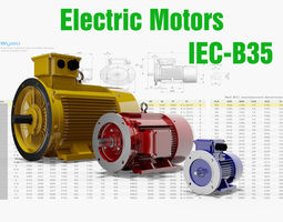72 CAD Models - Electric motors IEC B35 3D