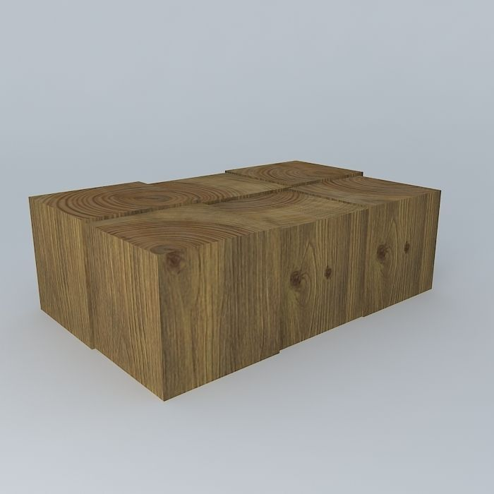 wood block coffee table 3d model max obj 3ds fbx stl dae 1. Wood Block Coffee Table 3D   CGTrader
