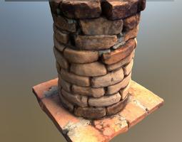 3D asset Scanned Brick Pillar