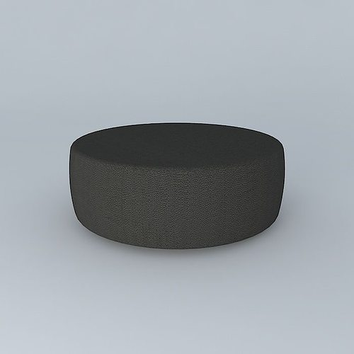 Round Leather Coffee Table Ottoman 3D Model