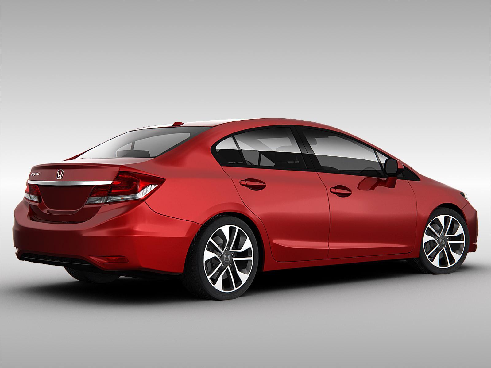 Honda civic 2013 3d model max obj 3ds fbx for Different honda civic models