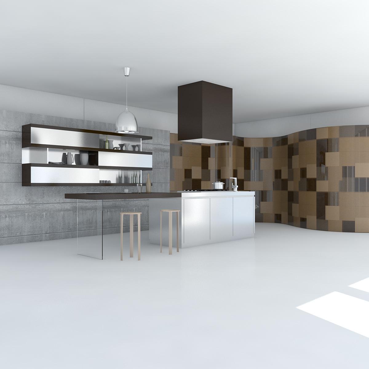 Kitchen Minimal Scene 3D Model MAX OBJ 3DS FBX
