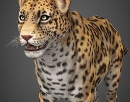 realtime low poly cheetah 3d asset