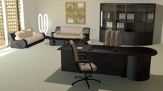 Modern fice Furniture 3D model MAX OBJ FBX MTL