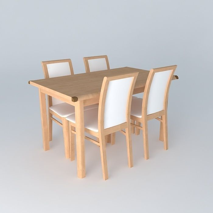 Indiana Red Pine dining table set | 3D model