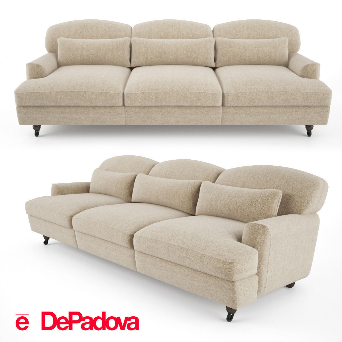 De Padova - Raffles Sofa - three-seater sofa 3D model MAX OBJ FBX