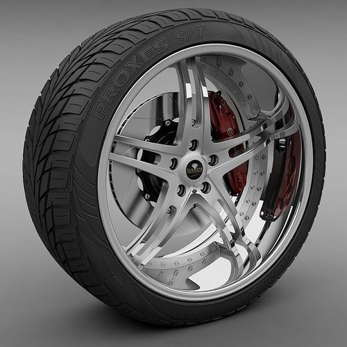savini forged sv-23s wheel and tire 3d model max obj mtl 3ds lwo lw lws 1