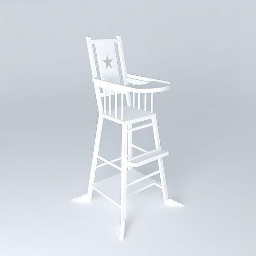baby highchair white dream houses the world 3d model max obj mtl 3ds fbx stl dae 1