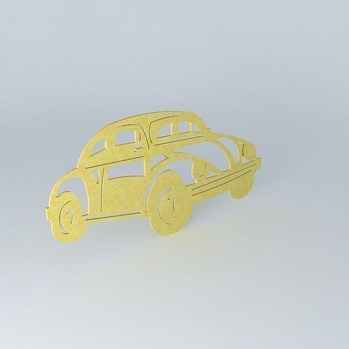 VW beetle cutout wall art 3D model | CGTrader