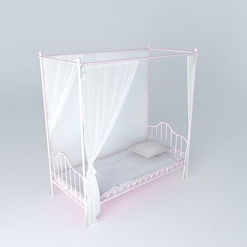 Pink canopy bed child EGLANTINE Houses of the world 3D model MAX OBJ 3DS FBX STL DAE & Pink canopy bed child EGLANTINE Houses of the world 3D model MAX ...