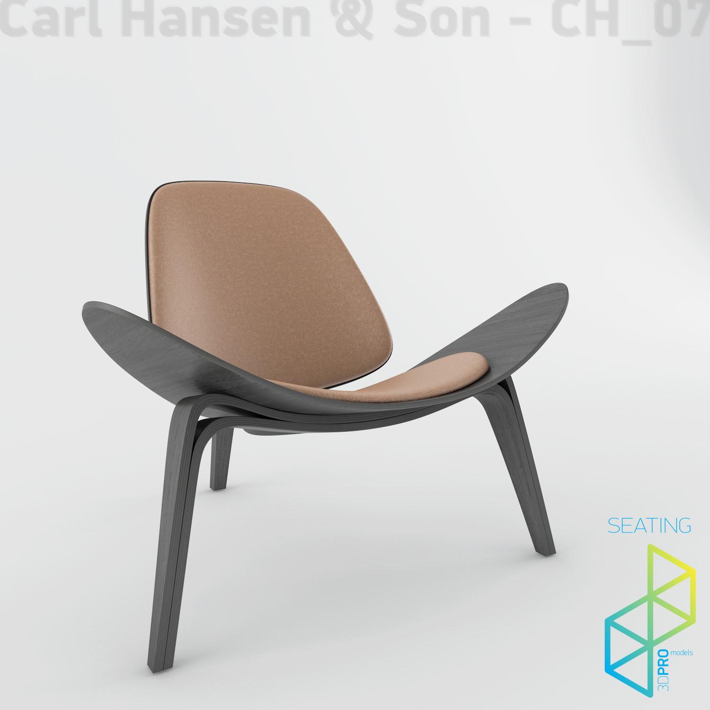 Carl Hansen Son Ch07 Shell Chair 3d Model Max Obj 3ds