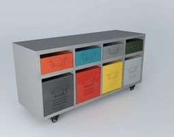 cabinet freestyle metal multicolored houses of the world 3d model