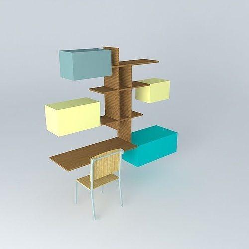 office desk with bookshelf. Home Office Desk Bookshelf 3d Model Max Obj 3ds Fbx Stl Dae 1 With