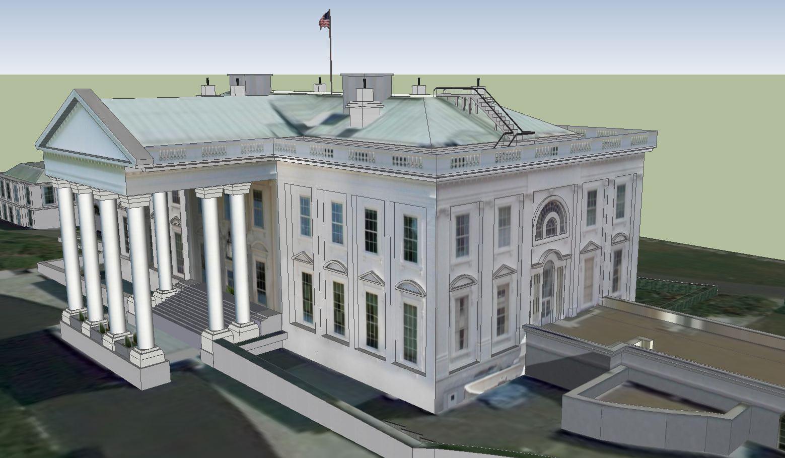 The white house 3d model skp for 3d model of house
