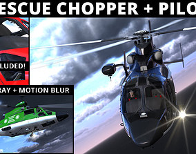3D model animated RESCUE HELICOPTER and PILOT