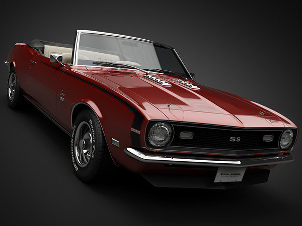 3d model 1968 chevrolet camaro ss convertible cgtrader. Black Bedroom Furniture Sets. Home Design Ideas