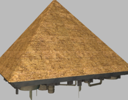 3d asset giza pyramid spaceship low-poly