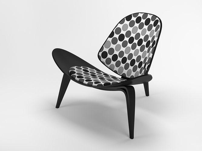 Hans Wegner Shell Chair 3d Model Skp 1
