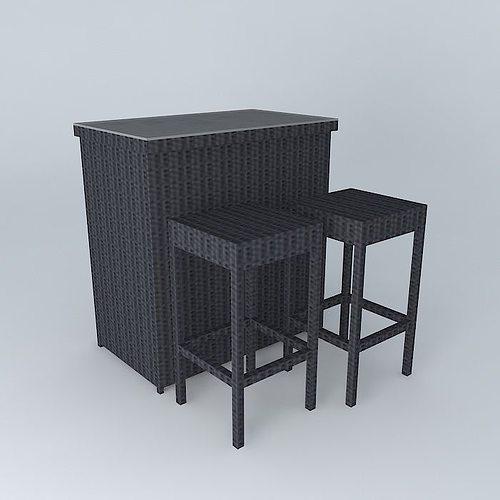 antibes 2 bar stools houses the world 3d model max obj mtl 3ds fbx stl dae 1