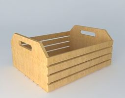 3d crate, wooden box fruit box