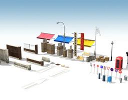 city props low-poly 3d model