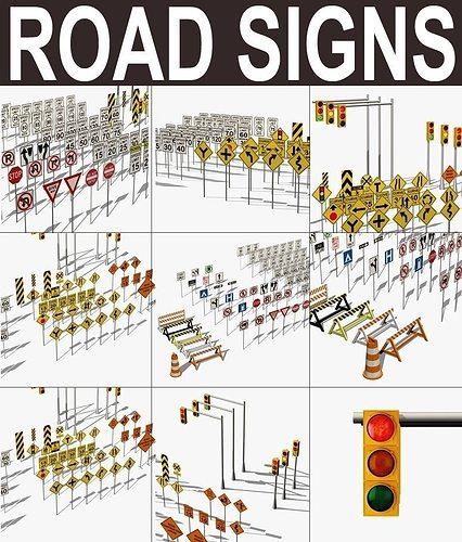 traffic signs 3d model low-poly max obj fbx mtl 1