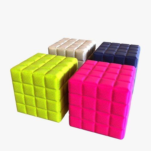 Buzzy cube design pouf 3D Model MAX OBJ 3DS FBX MTL