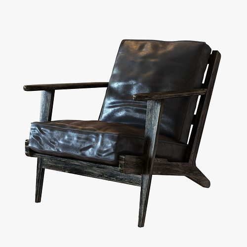 Four Hands Irondale Brooks Lounge Chair In Ebony Black Wash Weat 3d Model Max Obj 3ds Fbx Mtl
