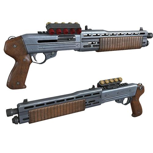 game ready shotgun 3d model low-poly max obj fbx tga 1