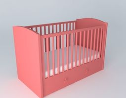 Red barred cot CIRCUS Maisons du monde 3D