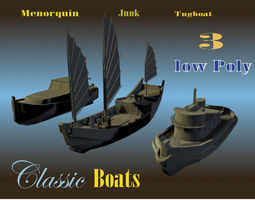 3d model realtime 3 low poly classic boats