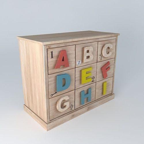Storage Cabinet SCHOOL child alphabet houses the world 3D model ...