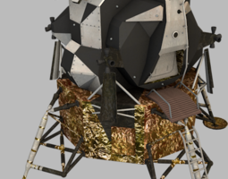 3D asset low-poly Apollo Lunar Module