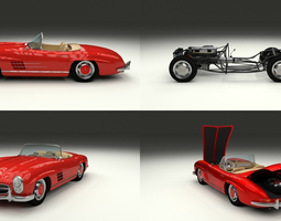 fully modelled mercedes 300sl roadster red