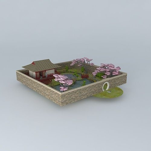 Japanese Teahouse With Garden Free 3D Model MAX OBJ 3DS FBX STL DAE