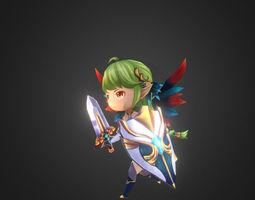 girl chibi for mobile game 3d model low-poly fbx tga