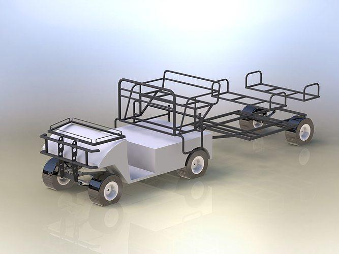 3D Basic frames of electric golf car | CGTrader