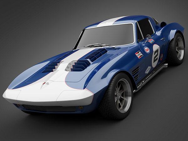 1964 grandsport corvette sports car 3d