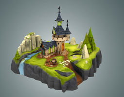 3d model VR / AR ready stylized castle environment