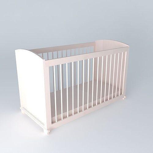pink barred cot pastel maisons du monde 3d model max obj mtl 3ds fbx stl dae 1