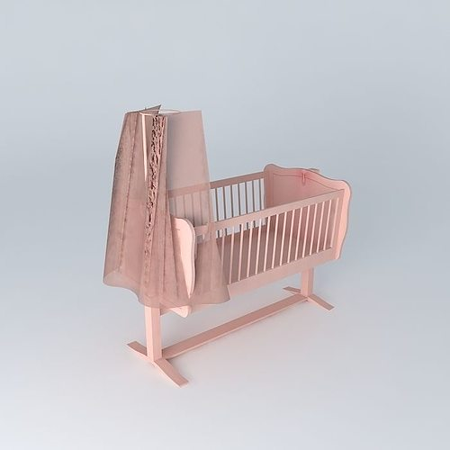 pink baby cradle victorine maisons du monde 3d model max obj 3ds fbx stl dae. Black Bedroom Furniture Sets. Home Design Ideas