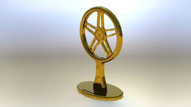 120 dia brass bike wheel trophy 3d model rfa rvt 1