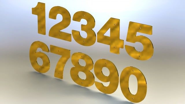 Brass numbers asm free 3d model rfa stl for Large 3d numbers