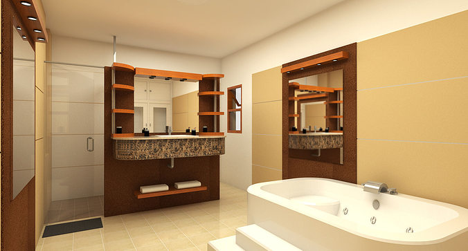 Architecture 3d bathroom design cgtrader for Bathroom design 3d model