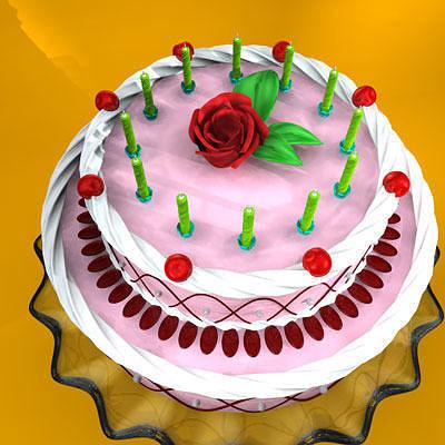 ... cake on plate 3d model obj 3ds fbx c4d 2 ... & 3D model Cake on plate | CGTrader