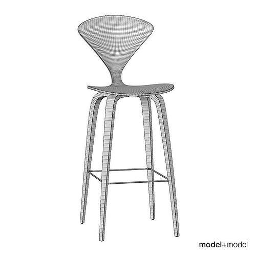 cherner wood base stool 3d model cgtrader