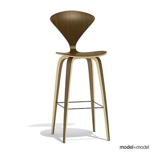 cherner wood base stool 3d model