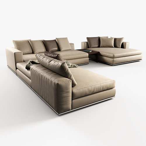 3d hamilton modular sofas cgtrader for Modular sectional sofa with recliner
