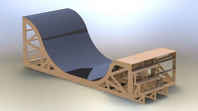 skate board ramp 3d model stl sldprt sldasm slddrw rfa rvt 1